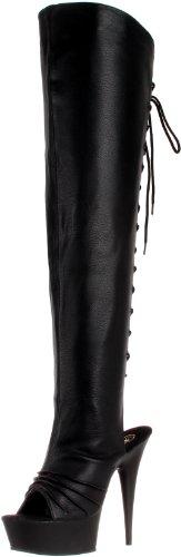 Pleaser Delight 3019, Baskets Hautes Femme Noir (Blk Faux Leather/Blk)
