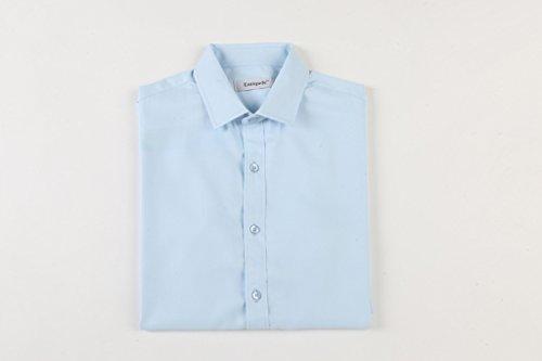 Emiqude Camicia uomo Slim Fit Manica lunga Business solido Blu