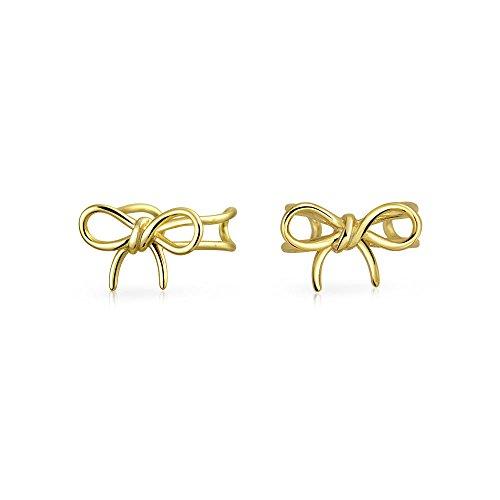 Bling Jewelry aus vergoldetem Sterling Silber Moderne Bogen Ohr Manschette Wrap
