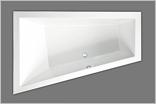 Badewanne Acryl Trapez Raumsparwanne Typ 915 rechts 180 weiß 180x120cm x50cm