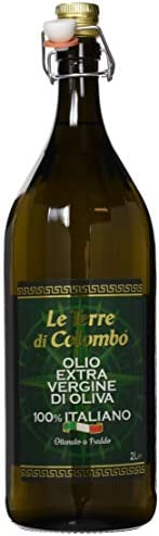 Le Terre di Colombo – 100% Italian Extra Virgin Olive Oil, Ribbed Bottle with Mechanical Cap, 2 L