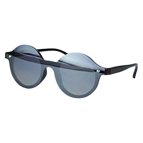 Sense42 Cat Eye Sonnenbrille Damen Flache Gläser leicht Silber Grau verspiegelt Leopard...
