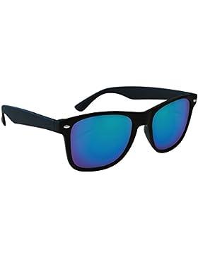 Eagle Wave, Gafas de Sol Unisex, Negra/Lente Espejo Azul, 52