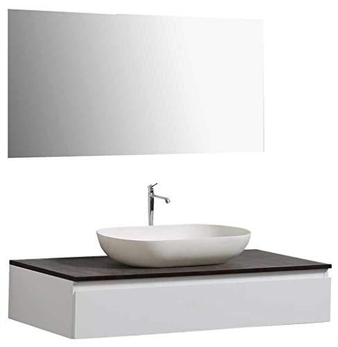 Badmöbel Vision 1000 Weiß matt - Spiegel:Ohne Spiegel, Zusätzl. Blende für Ablaufgarnitur:ohne zusätzl. Blende, Auswahl Waschbecken:Ohne Waschbecken