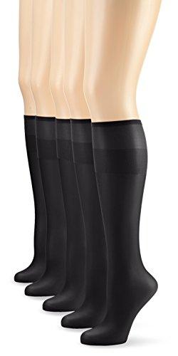 Nur Die Damen Kniestrümpfe 626969/5er Pack Knie Seidenfein,5er Pack  15 DEN, Gr. One size, schwarz (schwarz 094) -