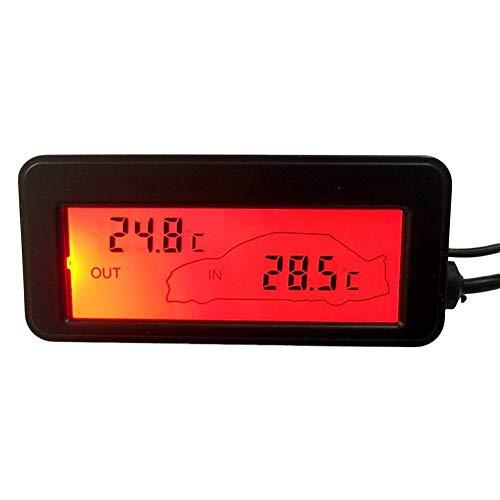 Coseyil DC12V Digital Thermometer Auto Thermometer Hintergrundbeleuchtung Mini Thermometer LCD Auto Innen Außenthermometer