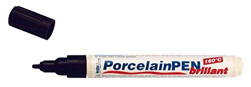 Kreul 16412 - Porcelain Pen brillant, deckender Porzellanmalstift auf Wasserbasis mit formstabiler Spitze, Strichstärke ca. 2 - 4 mm, brillante und lichtbeständige Farbe, Konturfarbe schwarz (Schwarze Keramik, Glas)