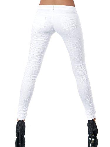 L851 Damen Jeans Hose Hüfthose Damenjeans Hüftjeans Röhrenjeans Röhrenhose Röhre, Farben:Weiß, Größen:34 (XS) -