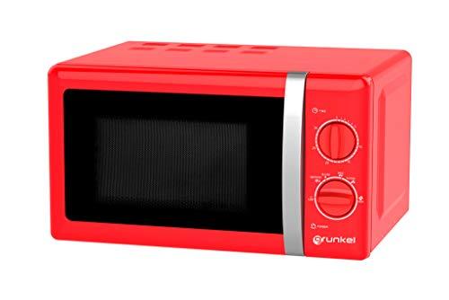 Grunkel MW-20RF - Microondas de diseño vintage de 20 litros de capacidad y 700W, color rojo