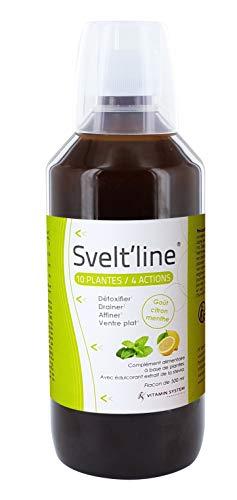 Vitamin System Svelt'Line 10 Plantes/4 Actions - Détoxifier, Drainer, Affiner, Ventre Plat - Goût Citron/Menthe - Flacon 500 ml