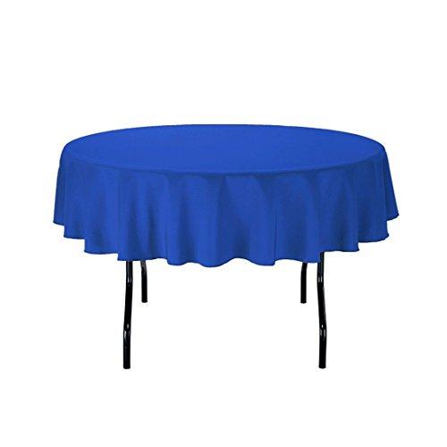 LinenTablecloth 177,8 cm Nappe ronde Polyester Bleu roi