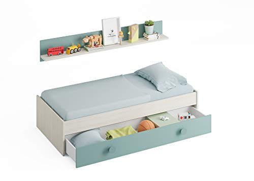 Habitdesign 0J7447Y - Cama Nido Juvenil, 2 Camas + Estante, Color Blanco Alpes y...