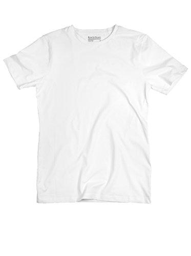 Bread & Boxers Herren Shirt mit Rundhals White Weiss L (Boxer Baumwolle-crew)
