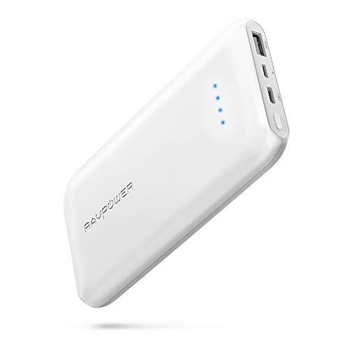 RAVPOWER Power Bank Ultra Sottile, Caricabatterie Portatile da 10000mAh con Porta USB Type-C, Progettato alla Perfezione per iPhone 8, iPhone X, Samsung S8 e iPad Air -Bianco
