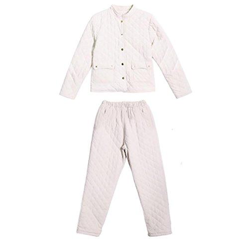CHUNHUA La signora triplo spessore inverno pantaloni trapuntati grandi cantieri pigiama cardigan a manica lunga , blue , xl White