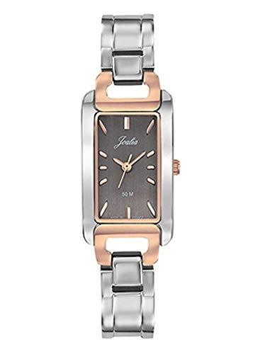 Joalia - Montre Femme - H634M073 - Bracelet argenté - Boitier rectangulaire Bicolore - Cadran Gris