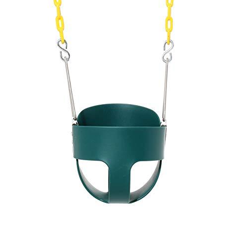 0Miaxudh Kinderschaukel, einfarbig Eisen hoch zurück voll Eimer Kleinkind Kinder Schaukel Sitz Set, Outdoor-Spielzeug Green