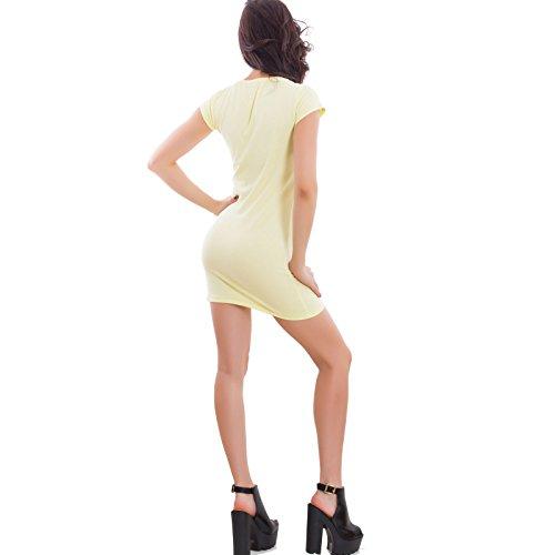 Toocool - Vestito donna corto miniabito aderente maniche corte basic nuovo JL-11322 Giallo