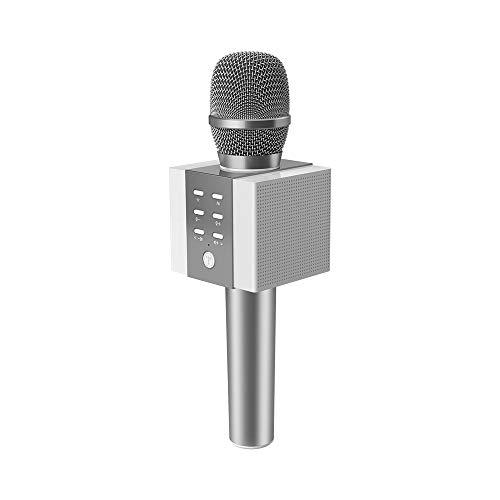 TOSING 008 drahtloses Bluetooth Karaokemikrofon, lauteres Volumen 10W Energie, mehr Baß, 3-in-1 beweglicher Handdoppeltsprecher-Mic-Maschine für iPhone/Android/iPad/PC (sliver)