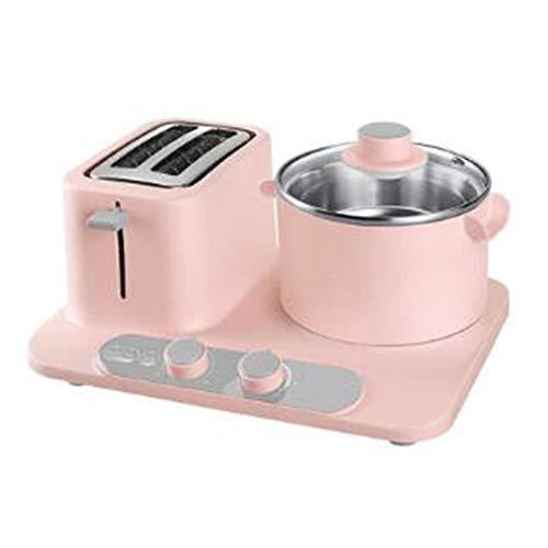 KASIQIWA Máquina Multifuncional para el Desayuno, 3-en-1 Pan Tostado para Hornear, tallarines, cocción y Carnes a la Parrilla con sartén eléctrica y Cacerola para el hogar,Pink