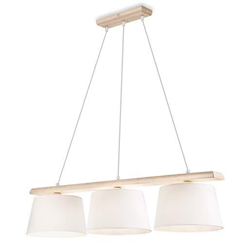 Pendel-Leuchte Decken-Leuchte VERONA aus Eiche (gebleichte Eiche), Skandinavischer Stil, 3-Flammig für E27 Leuchtmittel für Wohnzimmer, Esstisch, Flur, Schlafzimmer etc.