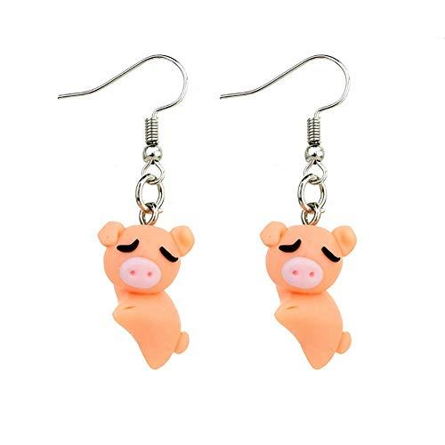 Ohrringe für Mädchen und Kinder, weiche Tonohrringe, Tropfenanhänger, Geschenk für Tochter, Freundin, Schwein, 4 cm (Color : -) (Adult Kostüme Schwein)