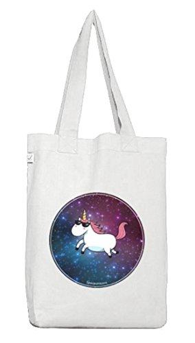 Borsa Di Juta Spazio Rosa Unicorno Fantasy Astronauta Universo Galassia Spazio Viaggiare Volare Equitazione Stelle Bianche