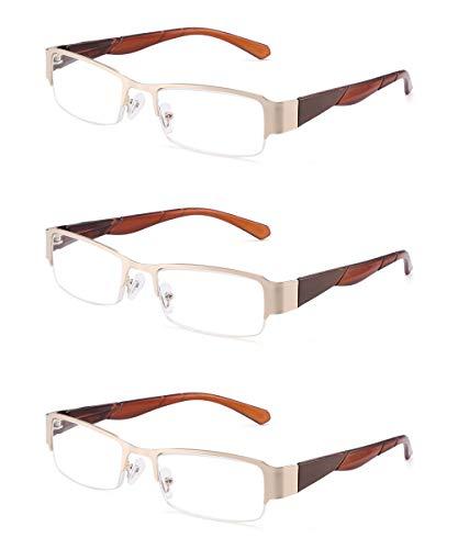 JM 3 Pack Federscharnier Lesebrille Vintage Rechteckig Brille für Leser Damen Herren +1.5 Gold Braun