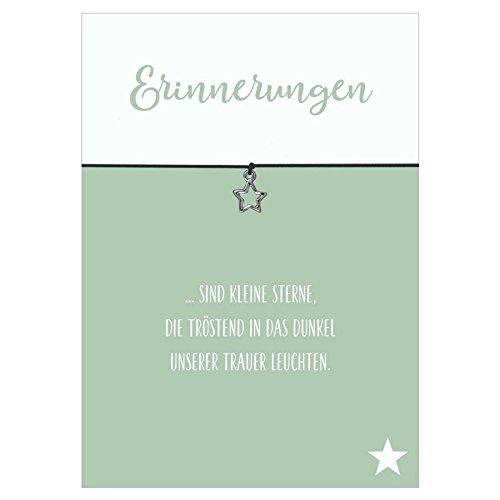 Armband Erinnerungen schwarz Stern versilbertes Metall Elastikband, Schmuck, Glücksschmiedin, Trauer, Gedenken (Trauer Schmuck)
