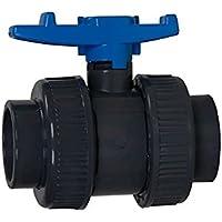 Aquaforte PVC Kugelhahn mit beidseitigen Überwurf, Ø 50 mm Klebemuffe