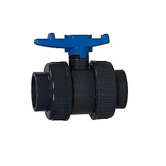 AquaForte PVC Kugelhahn mit beidseitigen Überwurf, 50 mm, blauer Griff 12