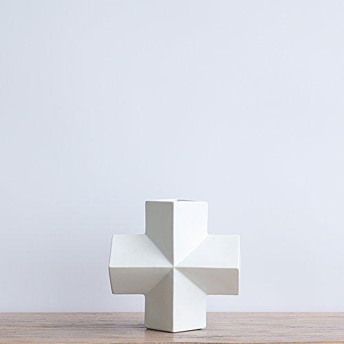 Kleine, frische kreative Keramik styling Geometrie Vasen Anstecker blumen Wohnzimmer in sechs wichtigsten +10 Unterstützung creme Ring, Kreuz verziert ist. (Keramik-kreuz Kleine)