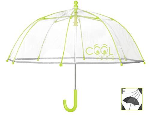 Perletti 15530Unisex 42/8Mann Dome Form Poe transparent grün Fiberglas Sicherheit offen Winddicht Regenschirm