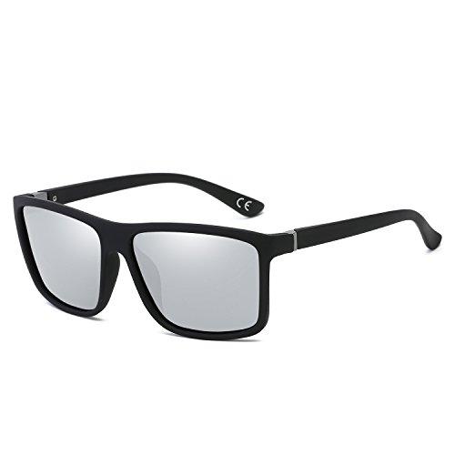 BVAGSS Gafas De Sol Polarizadas Modelo Vintage Classic Gafas Hombre Excelentes Para Montar Bicicleta Y Conducir (Black Frame With Silver Lens)