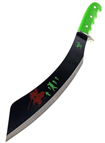 Zombie Machete 48cm Busch-Messer Survival-Messer Überlebens-Messer Dead Jagd-Messer Gürtelmesser Beil Messer Apokalypse Grün Schwarz Schwert mit Etui Hunting-Knife Quarantäne Camping