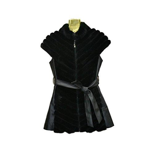 Fur Story 16217 Donne Reale Lunga Pelliccia di Visone Senza Maniche Vest con Pecore in Pelle
