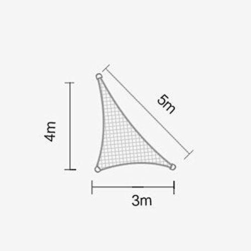 DUO Voiles d'ombrage 92-95% triangle d'auvent de voile d'ombre de Sun parfait pour le jardin extérieur de patio 3 × 4 × 5m (Couleur : Kaki)
