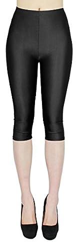 Glanz Capri Leggings Damen bunte Sommer Tanz Leggings Capri glänzende 3/4 Leggins Shiny One Size - 3LG121 (One Size - geeigent für Gr. 36-40,