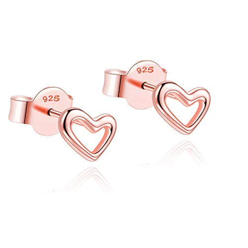 Hohl Rose (Herz-Bolzen-hohle Ohrringe 18k Rose Gold überzogener Schmuck-fester 925 Sterlingsilber-Ohrring für MetJakt Frauen und Mädchen-Schmucksachen (Rotgold))