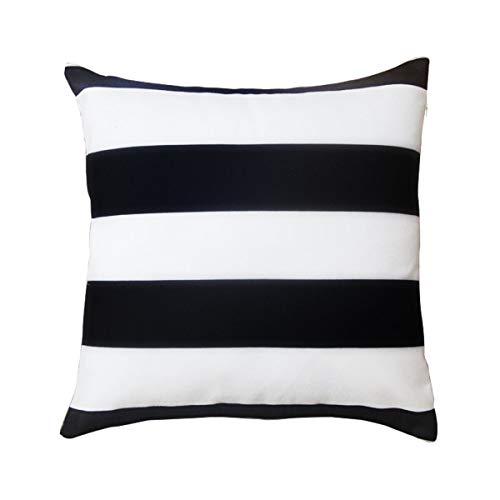 BreezyLife Gestreifter Kissenbezug Schwarz und Weiß dekorativer Kissenbezug Geometrische Akzente Kissen für Sofa Couch Bauernhaus Cottage Outdoor 18x18 schwarz, weiß -