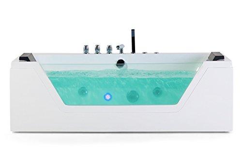 Whirlpool Badewanne Samurai mit 10 Massage Düsen + LED Unterwasser Beleuchtung / Licht + Wasserfall freistehende Wanne mit Glas Hot Tub Spa indoor / innen günstig