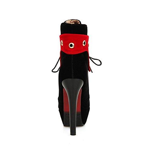 VogueZone009 Donna Allacciare Tacco Alto Pelle Di Mucca Colore Assortito Bassa Altezza Stivali Rosso