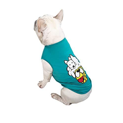 T.boys's Haustier Pet Shirt Welpen T-Shirt Herbst Weiches Komfort Kostüme Super süße Welpen Weste Dog Shirt weiches Sweatshirt ärmelloses Kostüm für kleine Hunde (Blue, L)