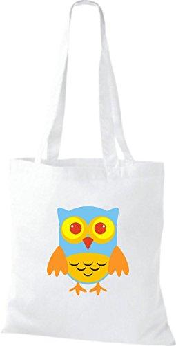 ShirtInStyle Jute Stoffbeutel Bunte Eule niedliche Tragetasche mit Punkte Karos streifen Owl Retro diverse Farbe, natur weiss
