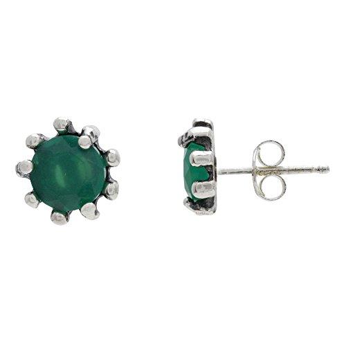 Córdoba Jewels |Pendientes en plata de ley 925 con semipreciosa con diseño Esmeralda Circle