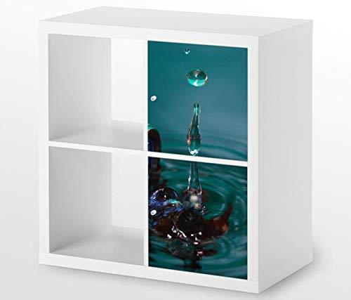 Möbelaufkleber für Ikea KALLAX / 2x Türelemente vertikal Taschenlampe Wasser Kat19 Wassertropfe Aufkleber Möbelfolie Tür sticker (Ohne Möbel) 25G121