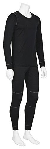 atmungsaktives Thermo-Unterwäsche-Set für Herren: langärmliges Oberteil + lange Unterhose (ÖkoTex100), schwarz in Größe XL