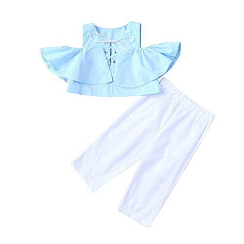 Baby Mädchen Mädchen patchen Kinder ärmellose Off-Shoulder-Farbe Tops Tops Tops + Einfarbig Hose Set Blau 110