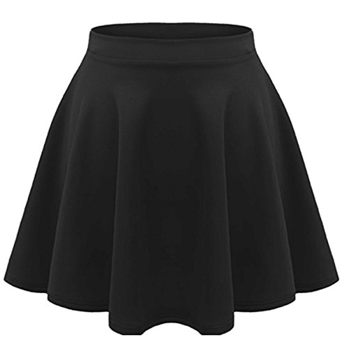 KIDS GIRLS CHILDREN HIGH WAISTED STRETCH PLAIN FLIPPY FLARED SHORT SKATER SKIRTS (7-8 Years, Black)