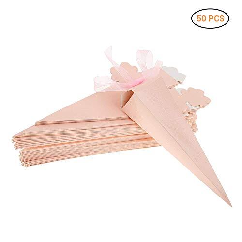 Schimer Bianco Cono portariso Scatola portaconfetti scatolina bomboniere segnaposto per Matrimonio Compleanno Battesimo Comunione Nascita Laurea Natale